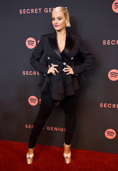 Bebe Rexha Platform Sandals [clothing,carpet,red carpet,fashion,footwear,premiere,flooring,outerwear,formal wear,suit,spotify,arrivals,bebe rexha,the theatre,california,los angeles,ace hotel,2nd annual secret genius awards]