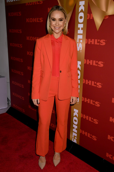 Becca Tobin Pantsuit [holiday season,clothing,suit,red carpet,red,carpet,pantsuit,premiere,outerwear,flooring,formal wear,kohl,becca tobin,new gifts at every turn,pop-up,new york city,kohl\u00e2,holiday pop-up opening event]