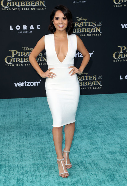 Becky G Bandage Dress [dead men tell no tales,pirates of the caribbean,dress,clothing,cocktail dress,shoulder,fashion model,premiere,neck,fashion,hairstyle,red carpet,becky g,dolby theatre,california,hollywood,disney,premiere]