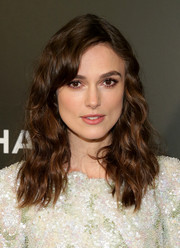 Keira Knightley wore wavy hair to the 2014 Tribeca Film Festival premiere of 'Begin Again.'