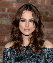 Keira Knightley styled her hair in her signature loose waves at the 'Begin Again' afterparty in NYC.