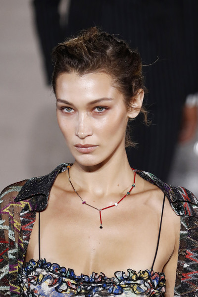 Bella Hadid Multi Beaded Necklace [hair,fashion model,fashion,hairstyle,beauty,eyebrow,lip,haute couture,fashion show,model,bella hadid,missoni - runway,runway,milan,italy,missoni,milan fashion week,show,milan fashion week spring]