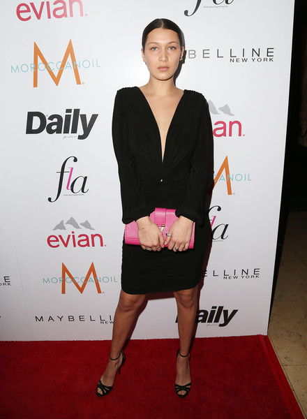 Bella Hadid Leather Clutch [clothing,dress,premiere,cocktail dress,shoulder,red carpet,carpet,fashion,joint,magenta,fashion los angeles awards,daily front row,front row,west hollywood,california,sunset tower hotel,arrivals,bella hadid]