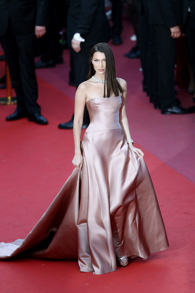 Bella Hadid Strapless Dress [ash is the purest white,fashion model,flooring,fashion,beauty,carpet,fashion show,gown,runway,catwalk,girl,bella hadid,screening,cannes,france,red carpet arrivals,jiang hu er nv,cannes film festival,palais des festivals]