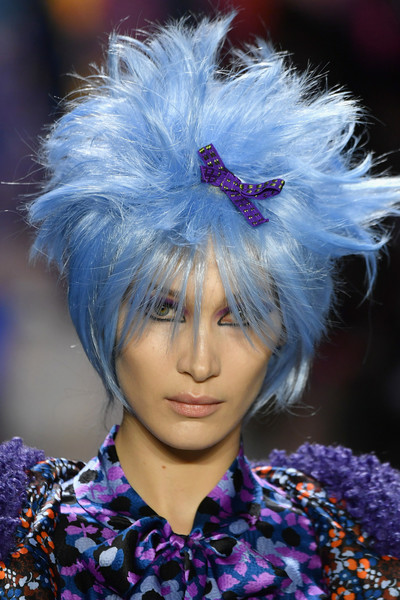 Bella Hadid Wigs [shows,the shows,hair,fashion,blue,purple,hairstyle,electric blue,hair coloring,headgear,haute couture,fashion accessory,anna sui,bella hadid,anna sui - runway,runway,new york city,spring studios,new york fashion week,fashion show]
