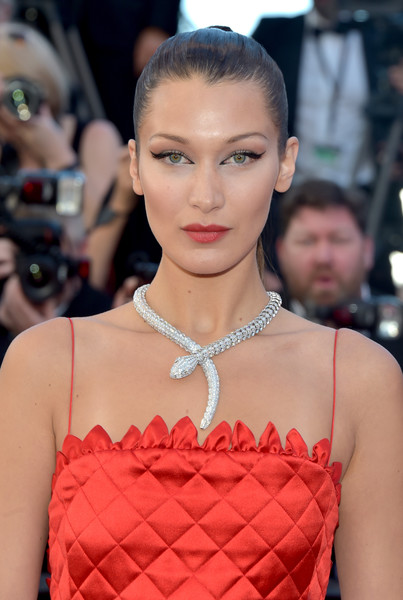 Bella Hadid Cat Eyes [hair,face,fashion model,fashion,hairstyle,lip,eyebrow,beauty,forehead,haute couture,red carpet arrivals,bella hadid,okja,screening,cannes,france,cannes film festival,palais des festivals]