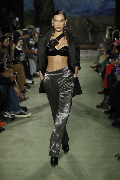 Bella Hadid Satin Pants [the shows,fashion model,fashion show,runway,fashion,clothing,model,public event,event,footwear,waist,brandon maxwell,bella hadid,brandon maxwell - runway,runway,new york city,american museum of natural history,new york fashion week,bella hadid,kendall jenner,new york fashion week,runway,new york,ukrainian fashion week,fashion week,fashion,fashion show,model]