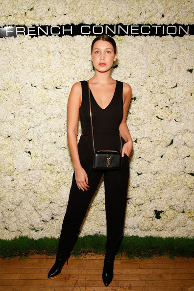 Bella Hadid Chain Strap Bag [clothing,shoulder,fashion,photography,footwear,leg,outerwear,trousers,sleeveless shirt,neck,bella hadid,new york city,french connection spring,michelson studio,collection preview party,summer 2015 collection preview party]