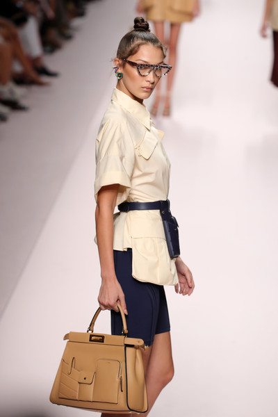 Bella Hadid Single Strap Tote [fashion,fashion model,fashion show,white,shoulder,clothing,runway,beige,waist,yellow,bella hadid,fendi - runway,runway,milan,italy,fendi,milan fashion week,show,milan fashion week spring]