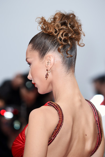 Bella Hadid Pinned Up Ringlets [hair,hairstyle,chignon,bun,beauty,shoulder,chin,long hair,fashion,brown hair,bella hadid,dolor y gloria,douleur et glorie,screening,cannes,france,red carpet,the 72nd annual cannes film festival]