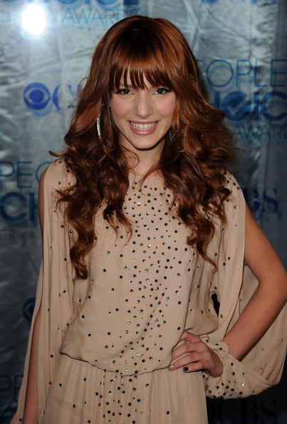 Bella Thorne Long Curls with Bangs [hair,hairstyle,long hair,bangs,brown hair,hair coloring,layered hair,blond,dress,fashion model,arrivals,bella thorne,peoples choice awards,california,los angeles,nokia theatre l.a. live]