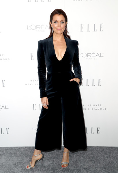 Bellamy Young Evening Sandals [elle,formal wear,little black dress,suit,dress,fashion model,flooring,tuxedo,carpet,blazer,white collar worker,los angeles,four seasons hotel,california,beverly hills,24th annual women in hollywood celebration - arrivals,24th annual women in hollywood celebration,bellamy young]