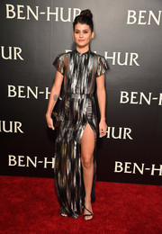 Sofia Black-D'Elia went for edgy glamour in a high-slit black and silver gown by Emanuel Ungaro at the LA premiere of 'Ben-Hur.'