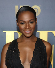Tika Sumpter sported a sleek side-parted bun at the New York screening of 'Bessie.'