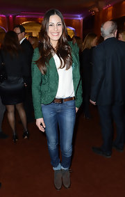 Funda Vanroy opted for classic skinny jeans at the Best Brands 2013 Gala in Germany.