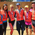 (L-R) Leigh Collier, Crystle Stewart, Nancy O'Dell, Keith Zubchevich, Aaron Meyerson and Max Sebrechts wear their medals after crossing the finish line of the Best Buddies Challenge: Hearst Castle Rideon September 8, 2012 in San Simeon, California.