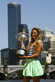 This mint-green mini skirt was a fun, fresh look for tennis star Victoria Azarenka.