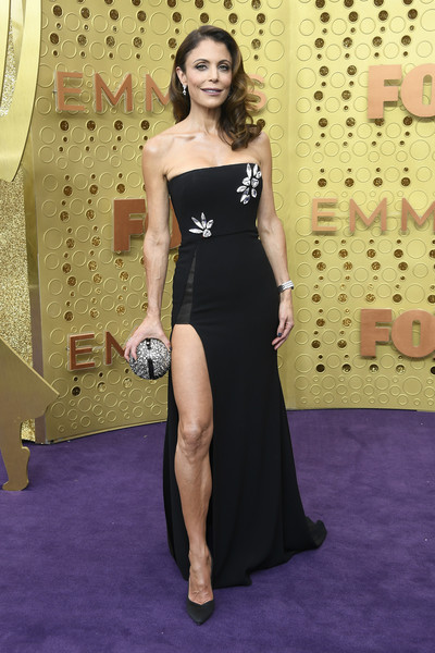 Bethenny Frankel Beaded Clutch [dress,red carpet,clothing,shoulder,carpet,flooring,strapless dress,fashion,hairstyle,gown,arrivals,bethenny frankel,emmy awards,microsoft theater,los angeles,california]