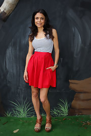 Bethenny Frankel paired a casual striped tank top with a red skirt of a comfy but classy look while visiting Wild Life Sydney.