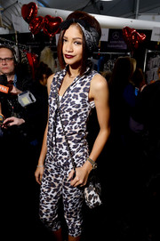Zendaya Coleman matched the fun vibe at the Betsey Johnson fashion show with this leopard-print jumpsuit.