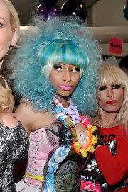 Nicki Minaj wore a wild pale blue and platinum wig at the Betsey Johnson Spring 2011 fashion show.