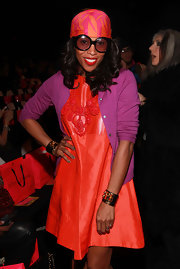 June Ambrose adorned her wrists with pair of cuff bracelets at the Betsey Johnson Fall 2011 collection launch.