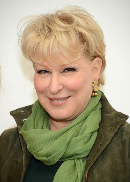 Bette Midler Short Cut With Bangs [hair,face,blond,hairstyle,chin,eyebrow,forehead,lip,cheek,scarf,women,bette midler,power lunch,new york city,citymeals-on-wheels,power lunch for women at the plaza hotel]