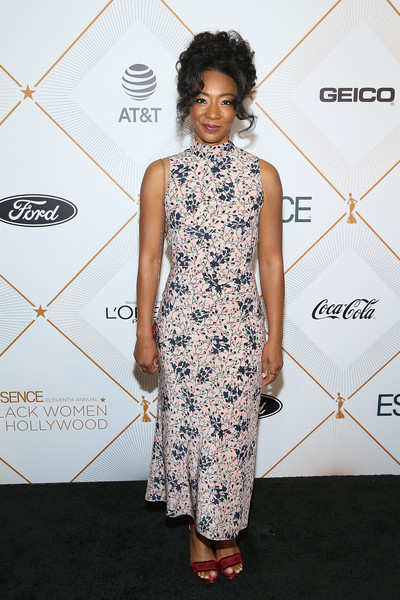 Betty Gabriel Evening Sandals [flooring,fashion model,dress,fashion,shoulder,hairstyle,catwalk,joint,carpet,cocktail dress,betty gabriel,arrivals,beverly hills,california,beverly wilshire four seasons hotel,essence 11th annual black women in hollywood awards gala]