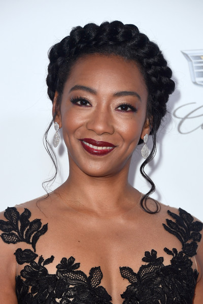 Betty Gabriel Braided Updo [hair,beauty,hairstyle,eyebrow,human hair color,fashion model,shoulder,black hair,ringlet,forehead,arrivals,betty gabriel,the beverly hilton hotel,beverly hills,california,annual producers guild awards]