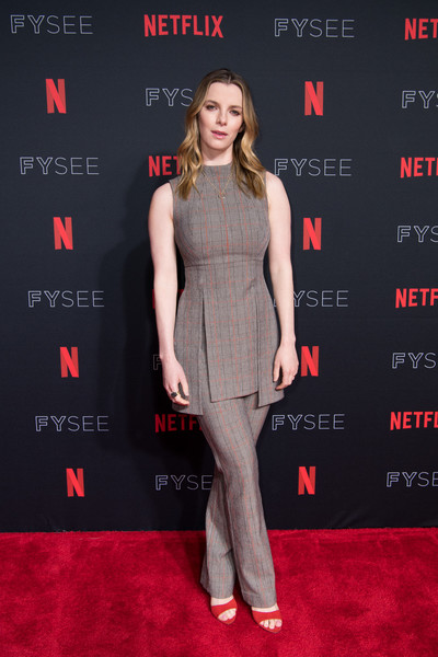 Betty Gilpin Print Pants [clothing,red carpet,carpet,dress,premiere,red,fashion,flooring,cocktail dress,footwear,betty gilpin,glow,for your consideration,netflixfysee,netflix fysee,california,los angeles,raleigh studios,event]