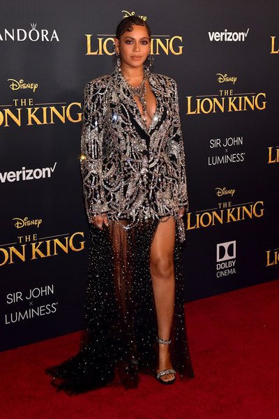 Beyonce Knowles Skirt Suit [the lion king,red carpet,carpet,clothing,premiere,fashion,flooring,dress,fashion model,footwear,event,arrivals,beyonc\u00e3,california,hollywood,dolby theatre,disney,premiere,premiere]