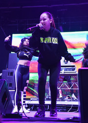 Bhad Bhabie completed her comfy outfit with a pair of high-top sneakers.