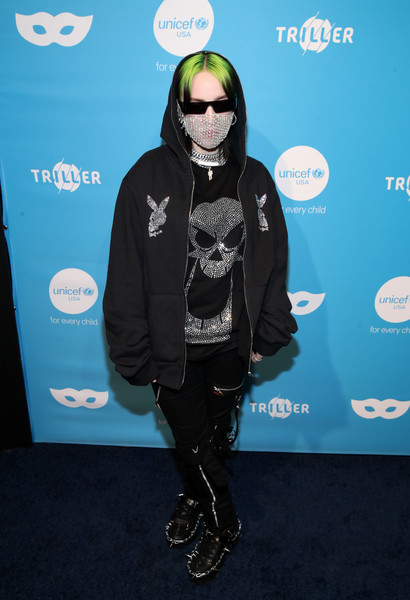 Billie Eilish Studded Boots [pop music,outerwear,carpet,eyewear,electric blue,flooring,style,outerwear,arrivals,billie eilish,musician,celebrity,kimpton la peer hotel,west hollywood,unicef,masquerade ball,masquerade ball,stock photography,costume,party,ball,celebrity,getty images,pop music,musician]