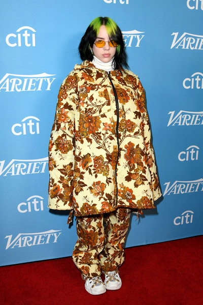 Billie Eilish Printed Coat [clothing,outerwear,fashion,yellow,fashion design,premiere,carpet,footwear,flooring,fashion show,outerwear,billie eilish,hitmakers brunch,fashion,clothing,yellow,fashion design,grammy awards,2019 variety,2019 varietys hitmakers brunch,billie eilish,grammy awards,bad guy,ocean eyes,soundcloud,academy awards,fashion]