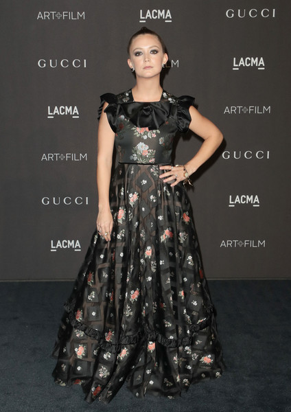 Billie Lourd Print Dress [fashion model,clothing,dress,gown,fashion,shoulder,lady,hairstyle,a-line,formal wear,arrivals,billie lourd,catherine opie,guillermo del toro,california,los angeles,lacma,gucci,lacma art film gala]