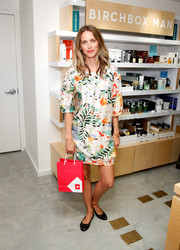 Leilani Bishop chose a colorful, printed shift for the Birchbox flagship store opening.