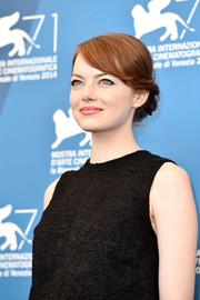 Emma Stone pulled her hair up into a sweet chignon for the 'Birdman' photocall.