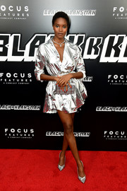 Damaris Lewis looked radiant in a silver shirtdress by Dior at the New York premiere of 'BlacKkKlansman.'