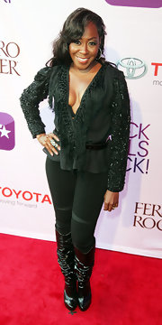 Tichina Arnold's slouchy black knee-high boots were an edgy yet chic complement to her beaded blouse at the Black Girls Rock! 2011.