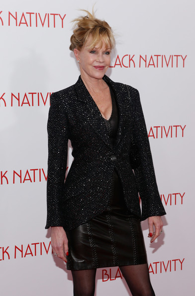More Pics of Melanie Griffith Ankle Boots (1 of 3) - Melanie Griffith Lookbook - StyleBistro [black nativity,clothing,dress,suit,outerwear,hairstyle,fashion,formal wear,little black dress,cocktail dress,premiere,arrivals,melanie griffith,new york,the apollo theater,premiere]