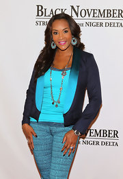 Vivica A. Fox was lovely in head-to-toe blues at a screening of 'Black November.' Even her nails featured a glossy midnight polish.