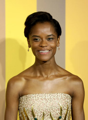 Letitia Wright sported a short, side-parted hairstyle at the European premiere of 'Black Panther.'