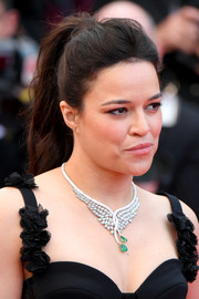 Michelle Rodriguez swept her tresses back into a ponytail for the Cannes Film Festival screening of 'BlacKkKlansman.'