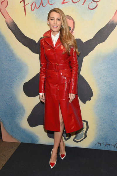 Blake Lively Leather Coat [michael kors collection fall 2018 runway show,red,footwear,fashion model,flooring,fashion,carpet,outerwear,leg,shoe,girl,footwear,blake lively,front row,celebrity,fashion,new york city,lincoln center,vivian beaumont theatre,fashion show,blake lively,new york fashion week,gossip girl,valentines day,actor,clothing,him/herself,celebrity,new york city,fashion show]
