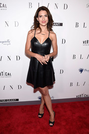 Hilaria Baldwin showed off her fab figure in a black leather slip dress at the New York premiere of 'Blind.'