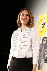 Sofia Coppola went for a mannish look with this dotted white button-down at the 'Bling Ring' screening in Tokyo.