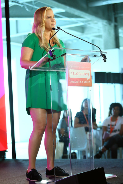 More Pics of Amy Schumer Long Wavy Cut (1 of 8) - Amy Schumer Lookbook - StyleBistro [green,pink,singing,fashion,microphone,performance,shoulder,audio equipment,event,leg,pier 17,new york city,blogher18 creators summit,amy schumer]