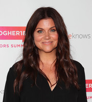 Tiffani Thiessen sported a casual wavy hairstyle at the #BlogHer18 Creators Summit.