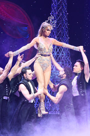 Paris Hilton showed plenty of skin in a bedazzled nude bodysuit at the Blonds x Moulin Rouge! The Musical show.