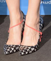 Marion Cotillard chose fun houndstooth Dior pumps with pink straps for the 'Blood Ties' press conference at the 2013 Toronto International Film Festival.